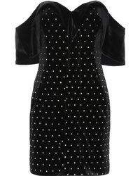 Self-Portrait Off-the-shoulder Velvet Mini Dress - Black