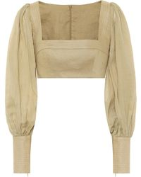 Zimmermann Exclusive To Mytheresa – Cropped Ramie And Linen Blouse - Natural