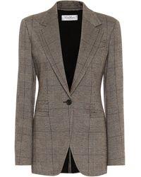 Max Mara Sfinge Checked Wool-blend Blazer - Gray