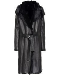 JOSEPH Reversible Shearling Coat - Black