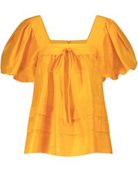 Lee Mathews Canary Linen And Silk Top - Orange