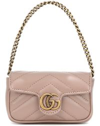 Gucci GG Marmont Micro Leather Shoulder Bag - Pink