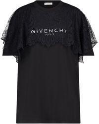 Givenchy T-Shirt aus Baumwolle mit Spitze - Schwarz