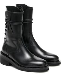 Ann Demeulemeester Lace-up Leather Ankle Boots - Black