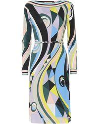 Emilio Pucci Printed Jersey Midi Dress - Blue