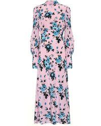 Les Rêveries Bedrucktes Kleid aus Seide - Pink
