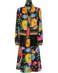 Gucci - X Ken Scott Floral Silk Twill Midi Dress - Lyst