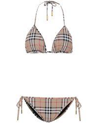 Burberry Bikini triangular Vintage Check - Neutro