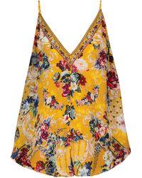 Camilla Top lencero de seda floral con adornos - Multicolor