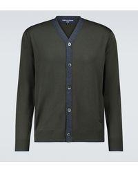 Comme des Garçons Wool Cardigan With Logo - Grey