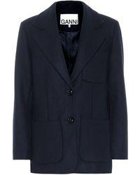 Ganni Wool-blend Jacket - Blue