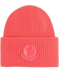 Moncler Ribbed Wool Beanie - Pink
