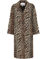 Ganni Leopard-print Linen And Cotton Coat - Black