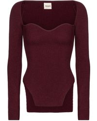 Khaite Exclusive To Mytheresa – Maddy Ribbed-knit Top - Red