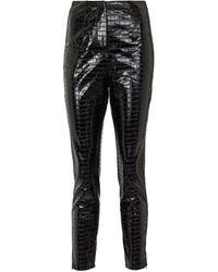 ROTATE BIRGER CHRISTENSEN Jeanine High-rise Skinny Croc-effect Pants - Black
