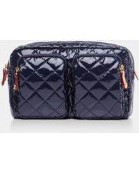 MZ Wallace Quilted Dawn Lacquer Large Savoy Cosmetic - Blue