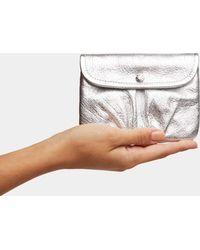 MZ Wallace - Silver Metallic Leather Bettie Pouch - Lyst