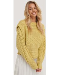 NA-KD Yellow Vest Cable Knitted Sweater