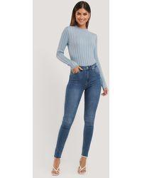 NA-KD - Skinny High Waist Raw Hem Jeans Tall - Lyst