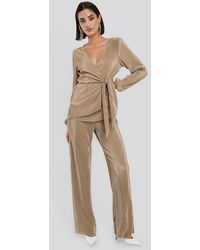NA-KD Party Wide Pleated Trousers - Natur
