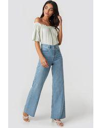 NA-KD Blue High Rise Wide Leg Jeans