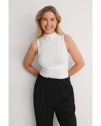 NA-KD - White Organic Gathered Sleeveless Jersey Top - Lyst