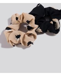 NA-KD 2-Pack Abstract Dots Scrunchies - Noir