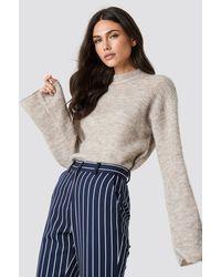 NA-KD Wool Blend Wide Sleeve Sweater - Neutre
