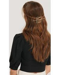 NA-KD Gold Hammered Wavy Hair Pin - Metallic
