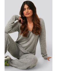 NA-KD Grey Lounge V-neck Knitted Jumper