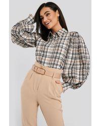 NA-KD Puff Sleeve Check Oversized Shirt - Meerkleurig