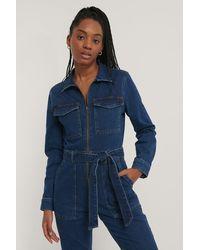 NA-KD Trend Reißverschlussdetail Jeans-Jumpsuit - Blau