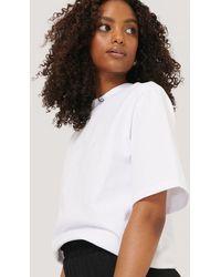 NA-KD White Padded Shoulder T Shirt
