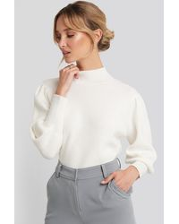 NA-KD Wide Cuff Balloon Sleeve Knitted Sweater - Blanc