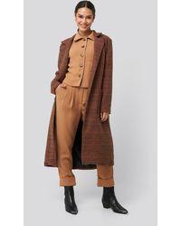 Trendyol Camel Plaid Front Pocket Detailed Long Coat - Bruin