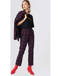 NA-KD Classic Straight Checkered Suit Pants - Blau