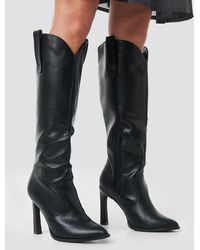 NA-KD Black Calf High Cowboy Boots