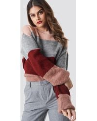 NA-KD Color Striped Balloon Sleeve Knitted Sweater - Mehrfarbig