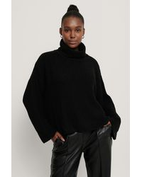 NA-KD Oversized High Neck Knitted Sweater - Noir