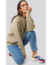 NA-KD Cable Knitted Oversized Sweater - Mehrfarbig