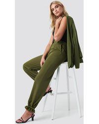NA-KD Drawstring Detail Pants - Groen