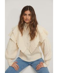 NA-KD Offwhite Volume Flounce Knitted Sweater - Natural