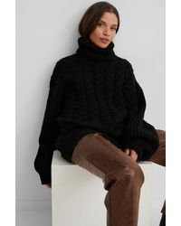NA-KD Black High Neck Cable Long Knitted Sweater