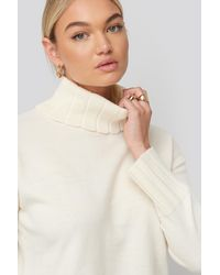 NA-KD Slouchy Turtle Neck Sweater - Wit