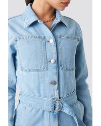 NA-KD Jeansjumpsuit Met Tailleriem - Blauw
