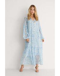 NA-KD Robe Maxi Transparente - Bleu
