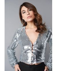 NA-KD Party V-Neck Sequins Balloon Sleeve Top - Mettallic