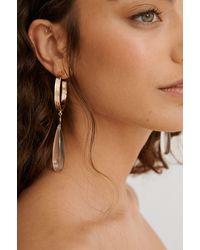 NA-KD Gold Glass Drop Earrings - Metallic