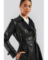 Trendyol Faux Leather Trench Coat Black