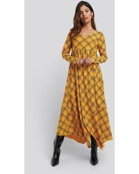NA-KD Checked Asymmetric Cut Dress - Geel